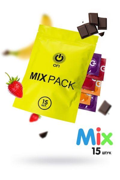 """Презервативы """"ON)"""" MIX №12+3 - цветные/ароматизированные (ширина 54mm)"""