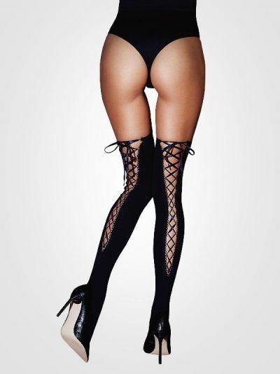 Чулки Le Frivole со шнуровкой сзади черные S/M