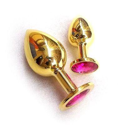 Анальная втулка с кристаллом Medium Gold розовый 8 см